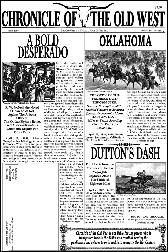 April 2017 Chronicle of the Old West Newspaper