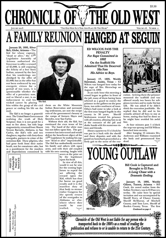 January 2018 Chronicle of the Old West Newspaper