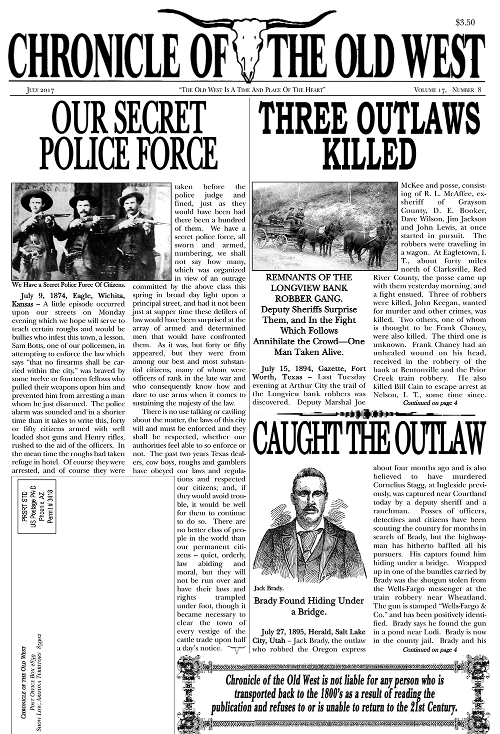 Chronicle of the Old West - July 2017 Current Edition