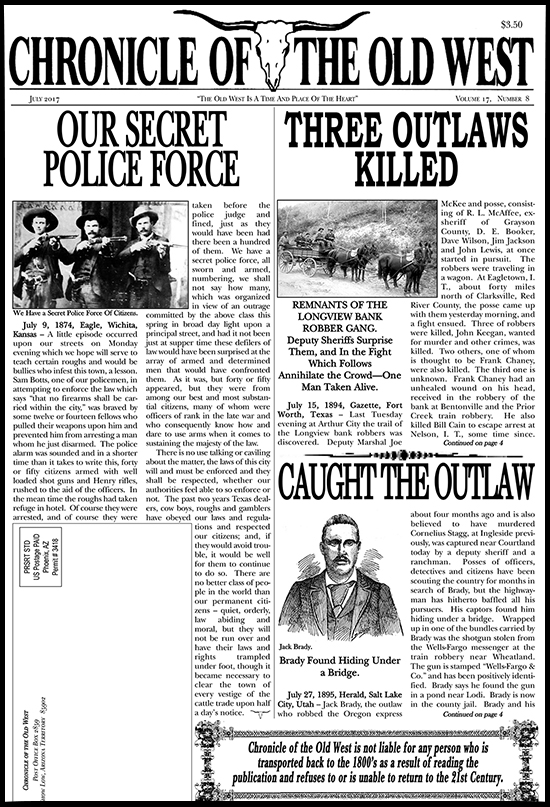 July 2017 Chronicle of the Old West Newspaper