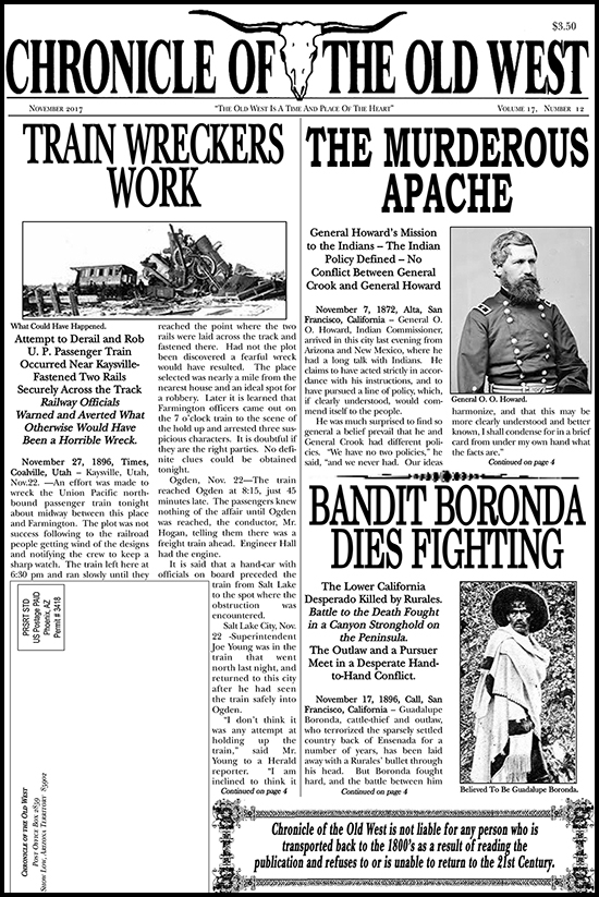 November 2017 Chronicle of the Old West Newspaper