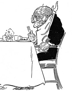 An Elderly Man Eating